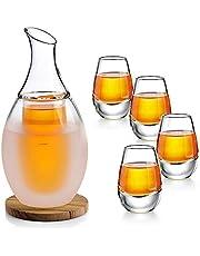 ZENS Sake Set Glass,Saki Cups Sake Carafe and 4 Cup Set for Warmer or Cold Japanese Sake Wine with Stone Coaster & Towel