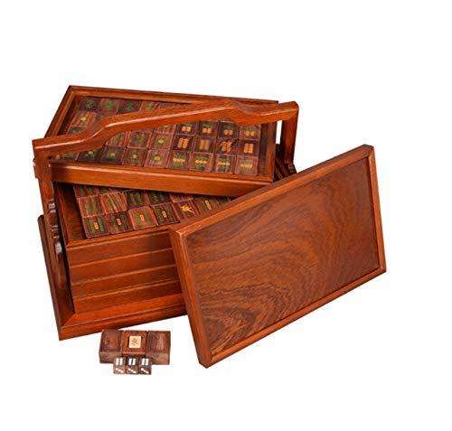 (HU Blood Sandalwood Mahjong Natural Pure Home Leisure Entertainment Toy Collection Five-Layer Wooden Box Mahjong Mat)