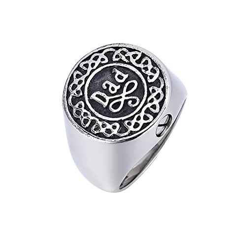 KY Cremation Ring for Ashes, Engraved Dad Memorial Urn Ring Stainless Steel Celtic Knot Retro Jewelry, Keepsake Ring Size 9