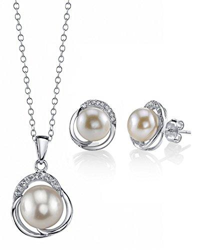 White Freshwater Cultured Pearl & Crystal Johnson Pendant & Earrings Set