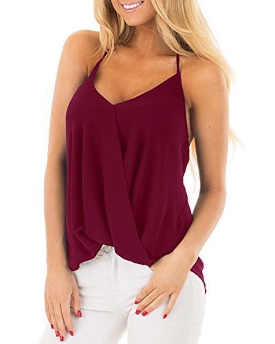 Style Dome Women Spaghetti Strap V Neck Sleeveless Pleated Backless Drape Wrap Cami Flowy Tank Top Wine Red S