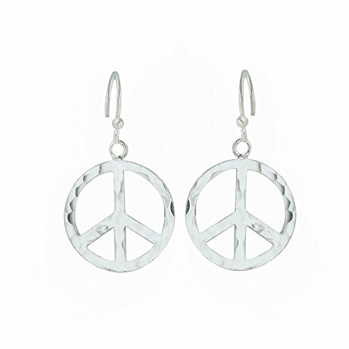 (Tisoro Sterling Silver Peace Sign Dangle Earrings - 100% Hypoallergenic & Allergy Free Jewelry)