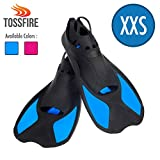 Swimming Fins Short Dive Fin Training for Youth Big Kids Woman Boy Girl 8-12 Years Old size XXS, Thermoplastic Rubber Pool Snorkel Set Flipper for Diving Snorkeling Scuba Watersport, Blue