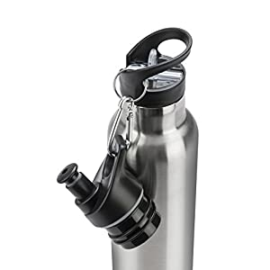 Insulated Stainless Steel Water Bottle 32 oz – Straw Flip Top & Sports Cap with Clip | Sweat & Leak Proof, BPA-Free, Stays Cold 24 Hrs / Hot 12 Hrs | Double Walled Thermo Vacuum Metal Drinking Flask