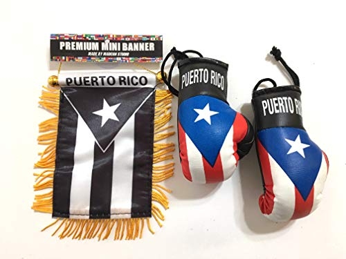 (Puerto Rico Flag, Puerto Rican Car flag, Puerto Rico Boxing Gloves)