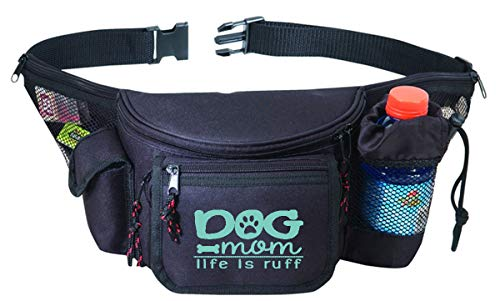 Funny Black Fanny Pack for Her, Women, Mom with Water Bottle Pocket - Dog Mom Life Is Ruff Waist Belt Bag, Phanny Pack for Travel, Gym, Running, Dog Walking, Hiking - Great Gift (Dog Mom Life is Ruff)