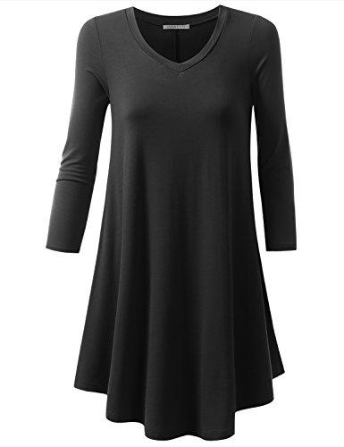 Buy black 3 4 sleeve shirt dress - 4