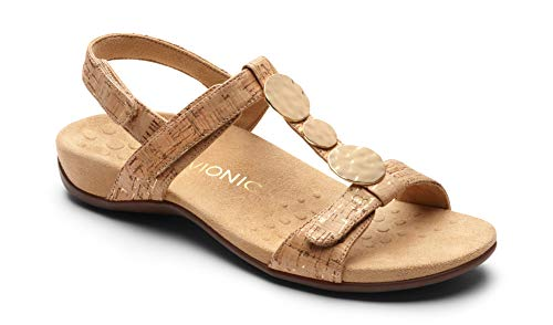 Vionic Women's Rest Farra Backstrap Sandal - Ladies Adjustable Sandals with Concealed Orthotic Support Gold Cork 7.5M