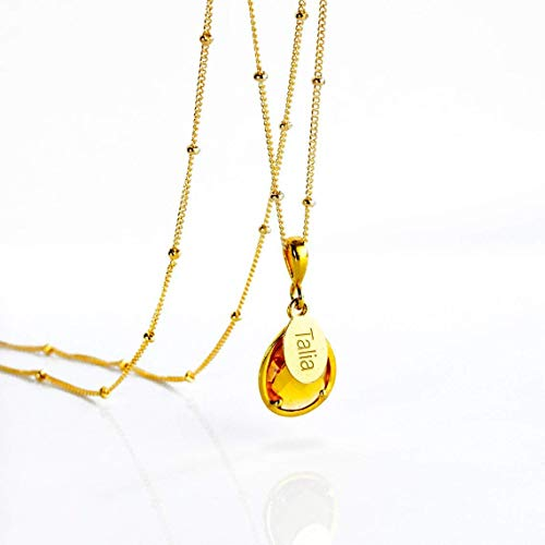 (Personalized Citrine Necklace, November Birthstone Pendant Necklace [TPwOV])
