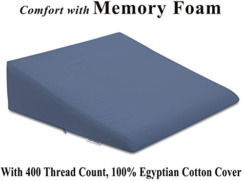 InteVision Foam Wedge Bed Pillow (26' x 25' x 7.5') with, 400 thread count, 100% Egyptian Cotton Cover
