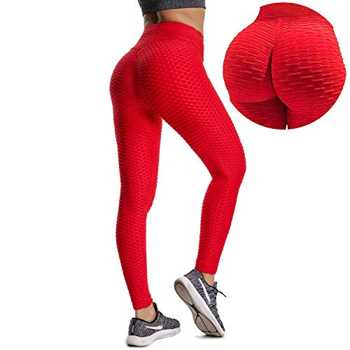 YOFIT Women Ruched Butt Yoga Pants Lifting Leggings High Waisted with Pockets Sport Tummy Control Gym Red M ()
