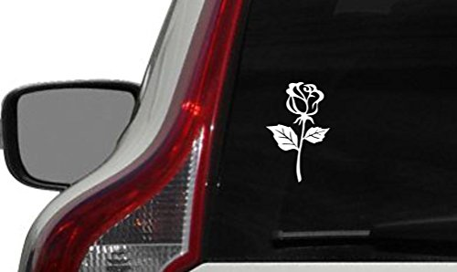 Flower Rose Version 9 Car Vinyl Sticker Decal Bumper Sticker for Auto Cars Trucks Windshield Custom Walls Windows Ipad Macbook Laptop and More (WHITE) ()