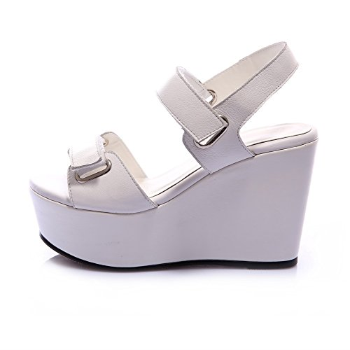 Amoonyfashion Donna Tacco Alto Materiale Morbido Solido Sandali Open-toe Open-toe Bianco
