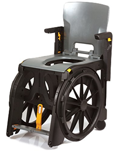 - Travel Pal - 4 in 1 Portable Travel Commode Shower Wheelchair Combo With Solid Seat, Carry Bag w/Rolling Casters and Collection Pan