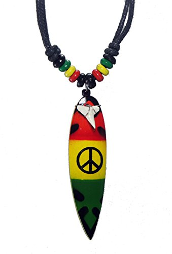 Surf Board Shark Tooth Reggae Rasta Beads Necklace Handmade Hawaiian Style Beach Boy Men