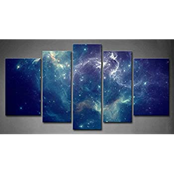 5 Panel Wall Art Blue Colorful Space Nebula Abstract Colorful Universe  Background Painting Pictures Print On