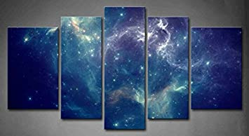 Amazon.com: 5 Panel Wall Art Blue Colorful Space Nebula Abstract ...