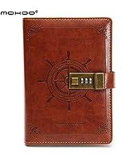 MOHOO Cuaderno de Cuero con Cerradura de Combinación/portátil/cuaderno diario/Aidememoire/Cuaderno secreto/Libreta de Viaje PU marrón vintage Oficina/Regalo Navidad 112 páginas 205 x 135 mm