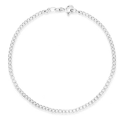 - .925 Sterling Silver 2mm Assorted Styles Anklet Ankle Bracelet, Measures 10 Inches, Made In Italy (Curb)