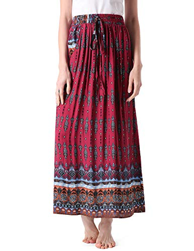 Tea Length Skirt for Women Floral Casual Plus Size Maxi Skirt Boho Burgundy XL
