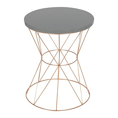 Kate and Laurel Mendel Round Metal End Table, Gray Top with Rose Gold Base ()