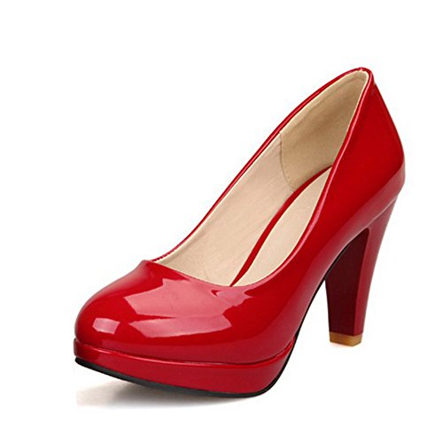 BalaMasa Womens Pull On High Heels Solid Red Pumps Shoes - 10.5 B(M) US