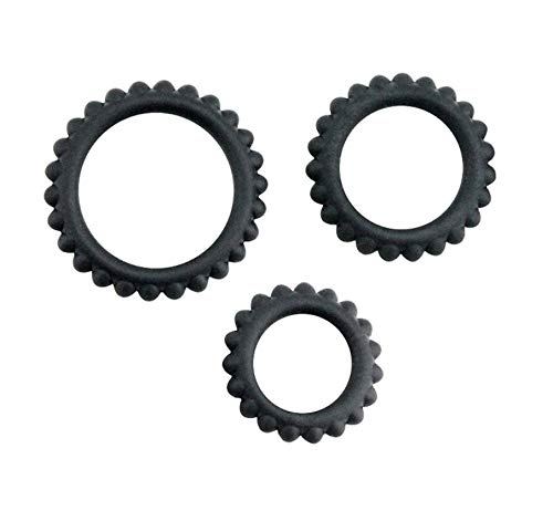 14HAO Three Different Sizes Black Silicone Lock Ring with Teeth Waterproof can be Used Multiple Times -67 by 14HAO