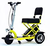 TRIAXE SPORT Foldable Electric Mobility Scooter + Cane & Cup Holder (Yellow)