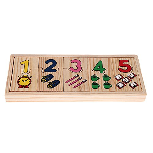 [Preschool educational Wooden Number Counting Matching Puzzle Toy Learning Gift] (Animals That Start With The Letter A)