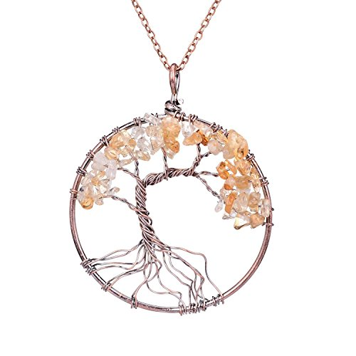 Handmade Wire Wrapped Family Root Tree of life Crystal Pendant Necklace Jewelry Healing Semi Precious Tumbled Natural Raw Gemstone Birth Stone Citrine…