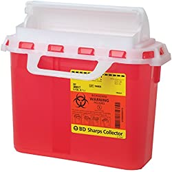 "BD Medical Systems 305517 Sharps Collector with Counterbalanced Door, Horizontal, 5.4 quart Capacity, 10.75"" Height x 12"" Width x 4.5"" Depth, Red (Pack of 20)"