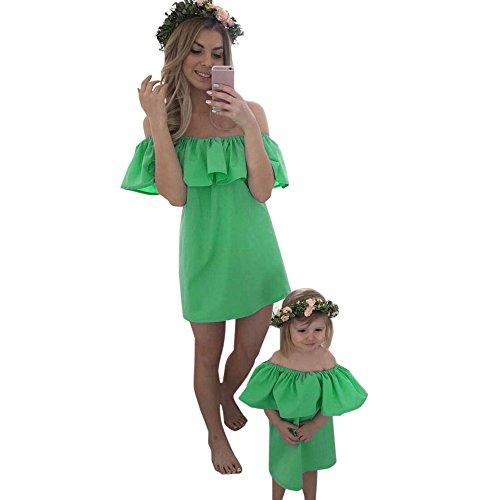 Franterd Mommy & Me Mom & Baby Parent-Child Slash Neck Family Matching Summer Mini Dress (Green, Girl 4-5T) (Superhero Slash)