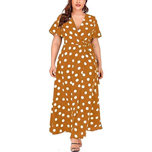 Zlolia Women's Polka Dot Split Maxi Dresses Short Sleeve Belt Deep V Swing Dress Summer Beach Casual Skirt - Studded Belt Lined