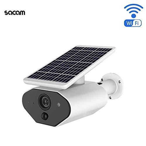 Cámara de vigilancia solar con batería inalámbrica, batería WiFi Cámara de seguridad solar Cámara HD 960P con visión...