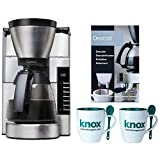 Capresso 497.05 MG900 10 cup Rapid Brew Coffeemaker, Stainless Steel (Certified Refurbished) Includes Machine Descaling Powder and Set of Two Mugs with Spoons
