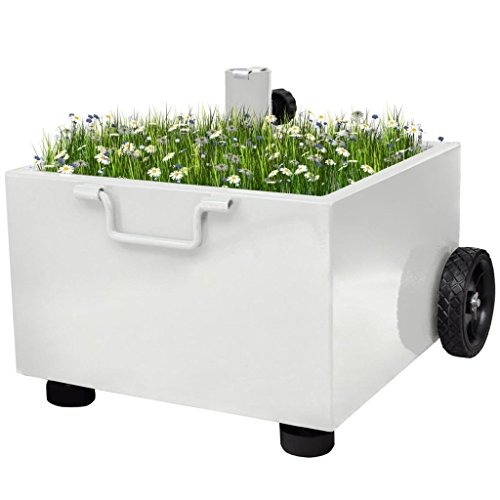 (Tidyard Patio Umbrella Stand Plant Pot with 2 Wheels Outdoor White for Plants Flowers 18