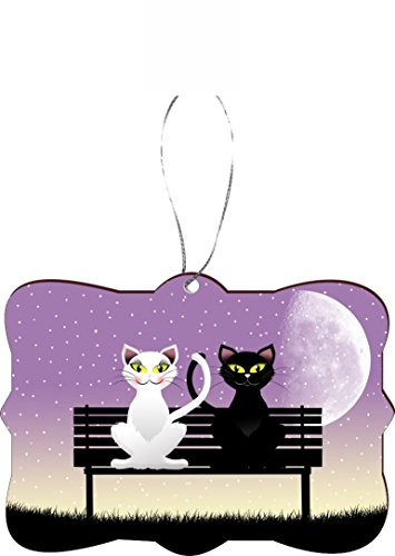 Rikki Knight RKWS-SQORN-44336 Christmas Tree Ornament / Car Rear View Mirror Hanger Black Cat & White Cat in Love on Park Bench Design by Rikki Knight