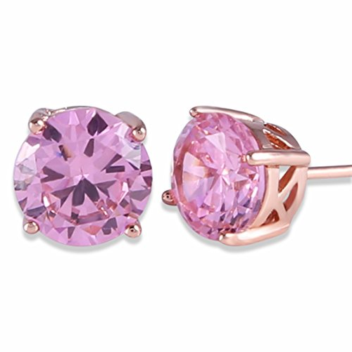 GULICX Rose Gold Tone Pink Classic Distinguished Stud Earrings