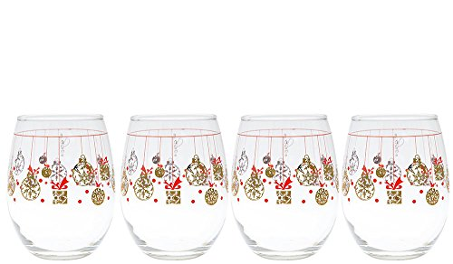 Culver Gold 22k Ornaments Presents 15-Ounce Stemless Wine Glass (Set of ()