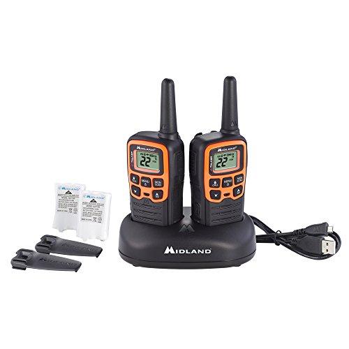 Midland - X-TALKER T51VP3, 22 Channel FRS Walkie Talkie - Up to 28 Mile Range Two-Way Radio, 38 Privacy Codes, NOAA Weather Alert (Pair Pack) (Black/Orange)