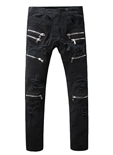 Men's Straight Fit Multi-zipper Ripped Stretch Slim Biker Black Jeans 32