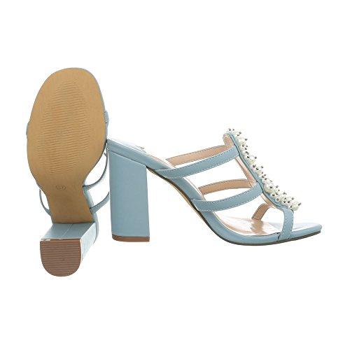 Mules Sandales Design Kitten Ital Lumière Bleue Chaussures Femme Heel HTYBY