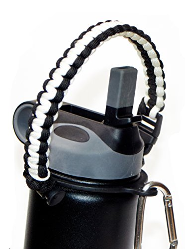 20 Oz White Bike Bottle (WaterFit Paracord Carrier Strap Cord with Safety Ring and Carabiner for 12-Ounce to 64-Ounce Wide Mouth Water Bottles, White/Black)