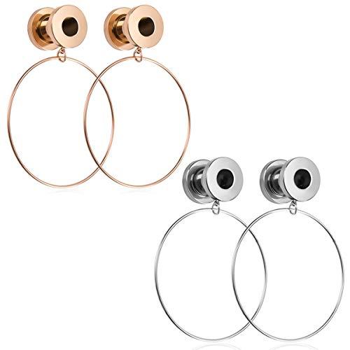 NASAMA Stainless Steel Ear Plugs Expander Large Hoop Dangle Ear Gauges Plugs Tunnels Body Piercing Jewelry (8mm/Steel Color + Rose Gold)