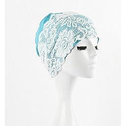 YOOKOON Simple And Elegance Length PU Waterproof Lace Water Swimming Bathing Blue Cap for long hair Women Adult