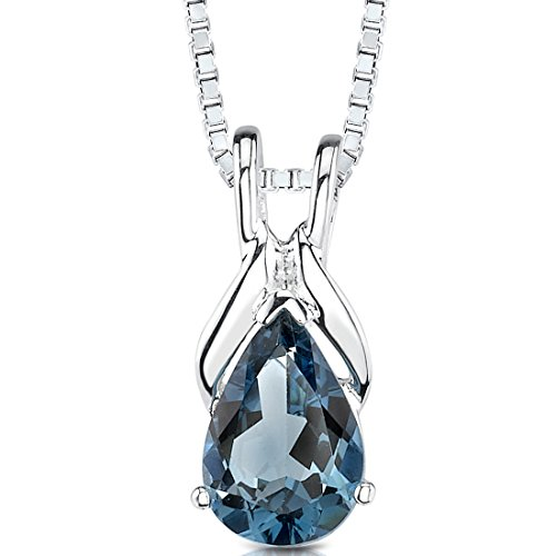 1.50 cts Pear Shape London Blue Topaz Pendant in Sterling Silver Rhodium Nickel Finish