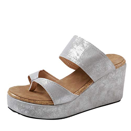 Womens Summer Sandal Wedges Boho Flip Flops Platform Rivet Beach Shoes Thick Bottom Slippers (Gray -1, US:7.5) (Leather Wedges Denim)