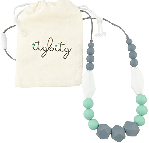 The Original Baby Teething Necklace for Mom, Silicone Teething Beads, 100% BPA Free (Gray, Mint, White, Gray) ()