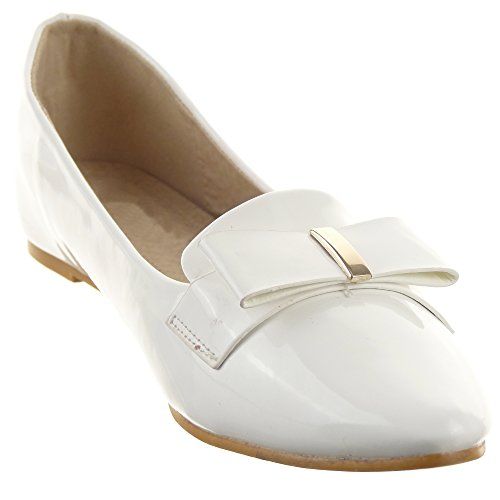 Sopily - Scarpe da Moda Mocassini ballerina alla caviglia donna lucide nodo metallico Tacco a blocco 0.5 CM - Bianco