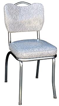Richardson Seating Handle Back Chrome Diner Chair with 2 Box Seat, Cracked Ice Gray